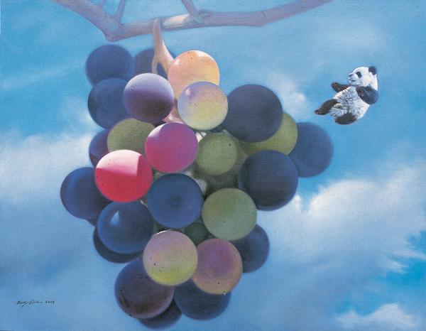 只大足球的小熊猫们; 百年后的葡萄提前熟了 140x180cm 2009 布面油画
